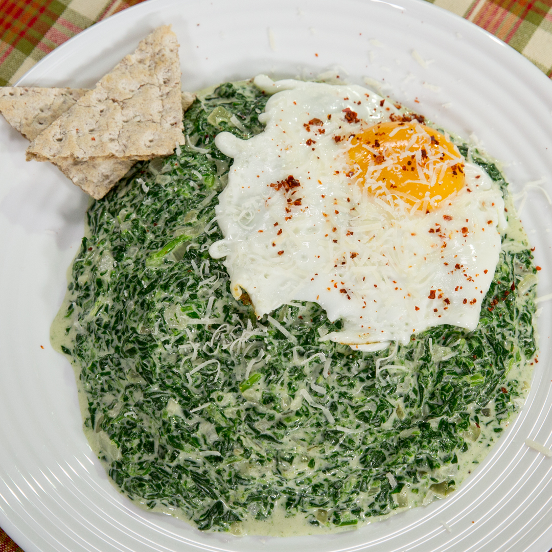 Creamed Spinach with Fried Egg on Top