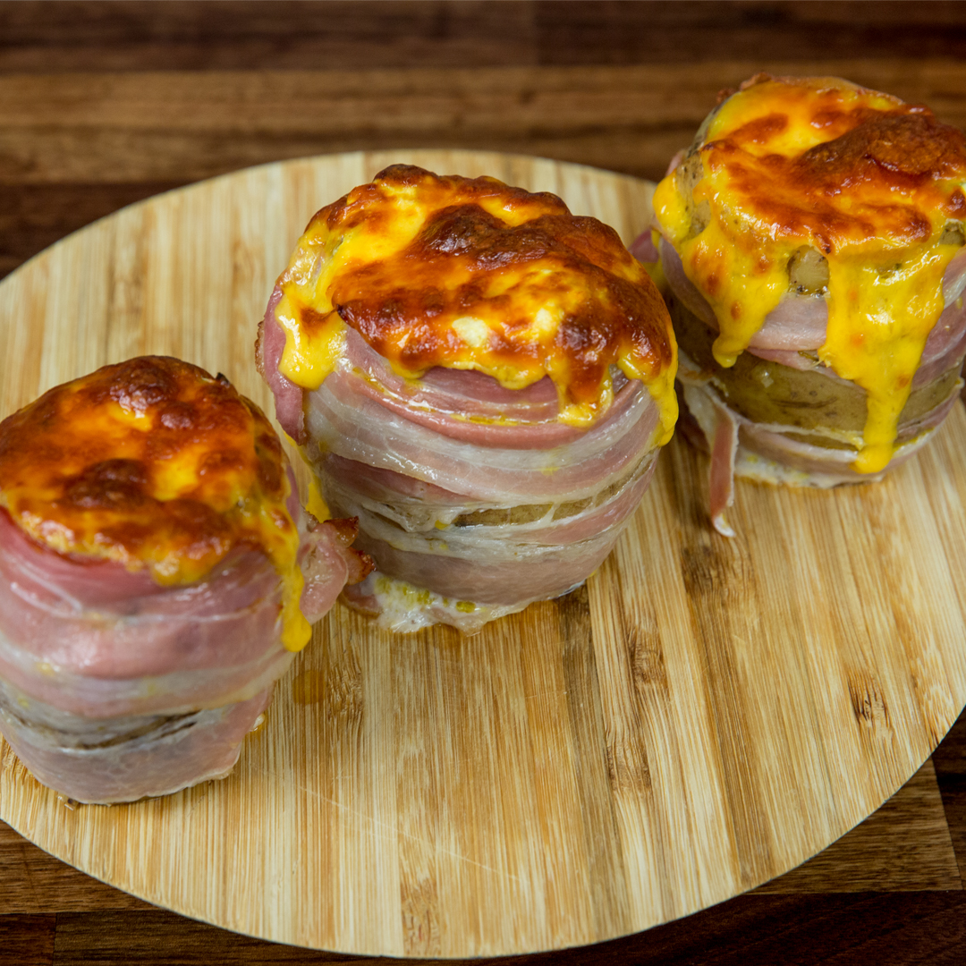 Potatoes Stuffed with Cheese and Wrapped in Bacon