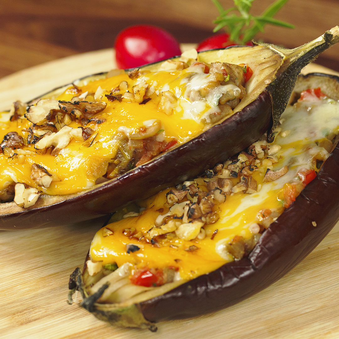 Stuffed Eggplant Topped with Cheese