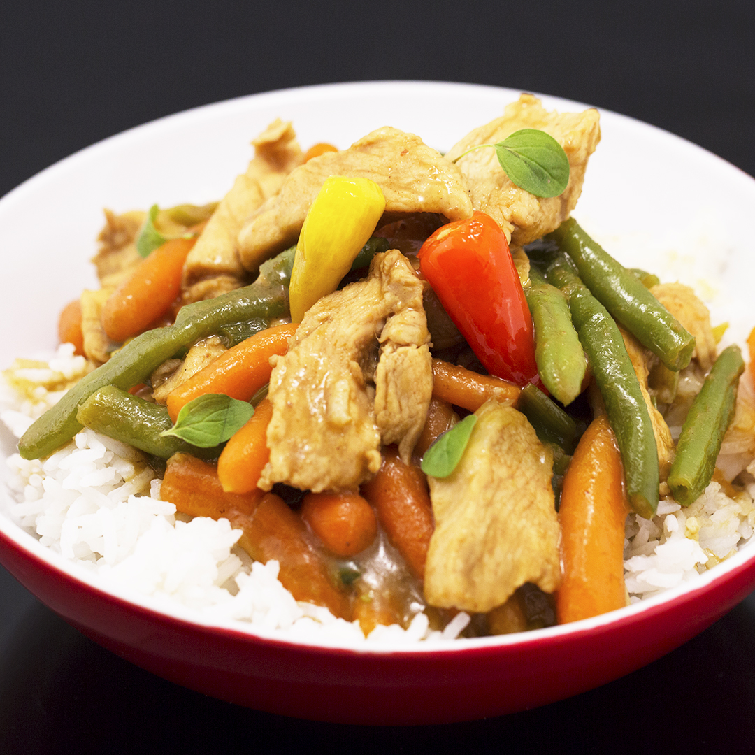Chicken Curry with Baby Carrots and Green Beans