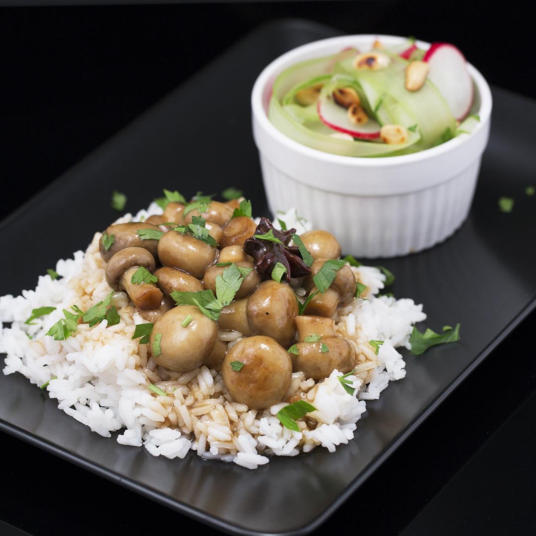Soy Sauce Glazed Mushrooms with Refreshing Salad
