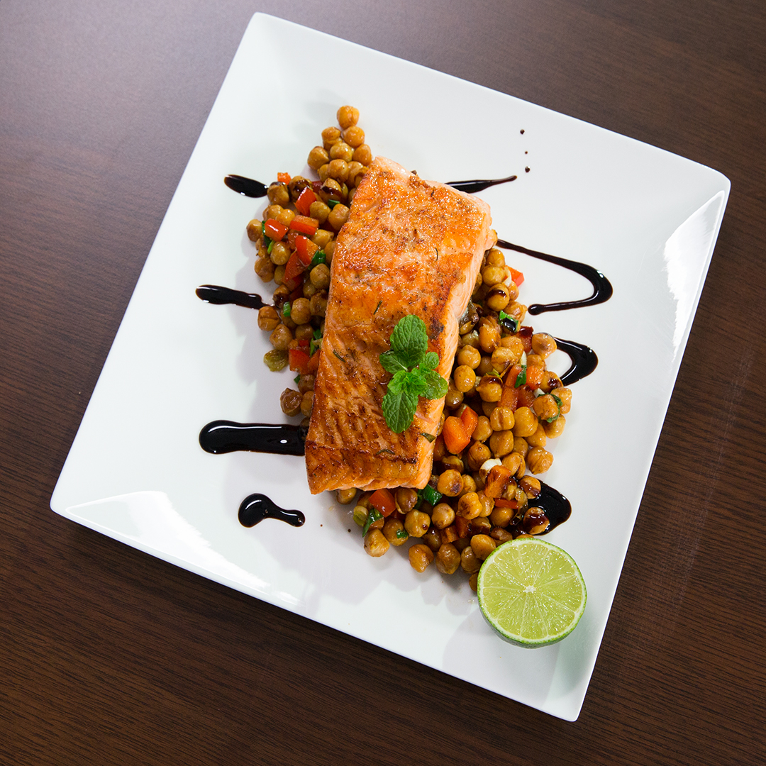 Pan-Fried Salmon with Orange-Flavored Chickpeas