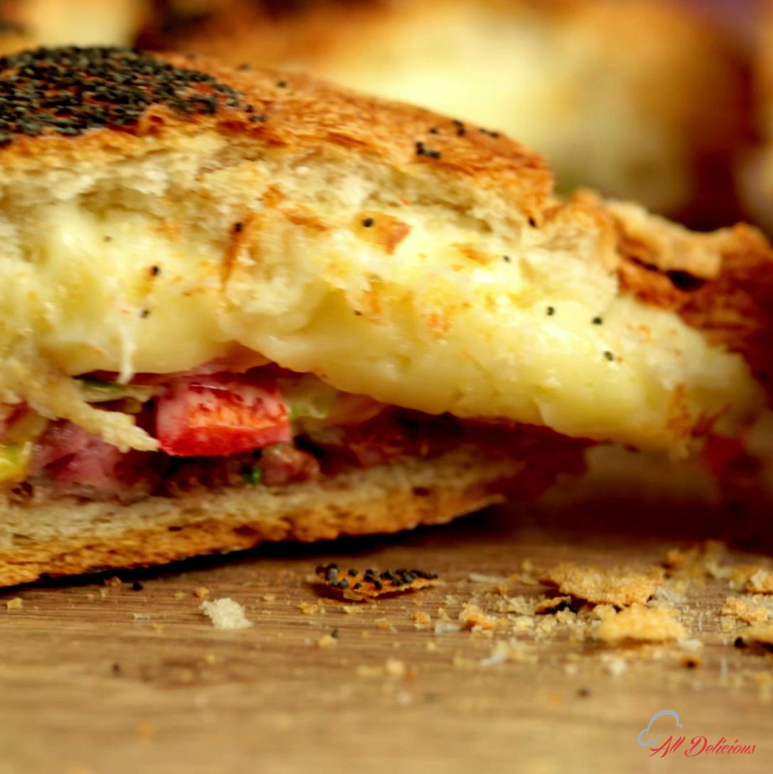 Beef, Mozzarella and Bacon Stuffed Bread