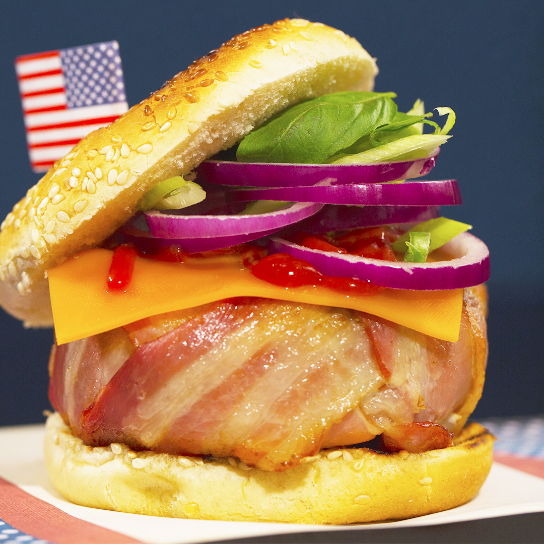 Turkey Burgers with Bacon-Wrapped Patty