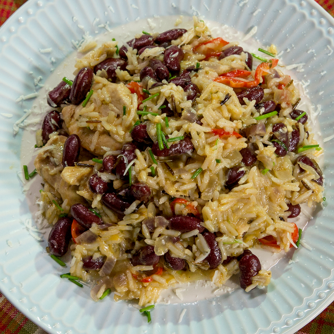 One Pan Chicken, Rice and Beans
