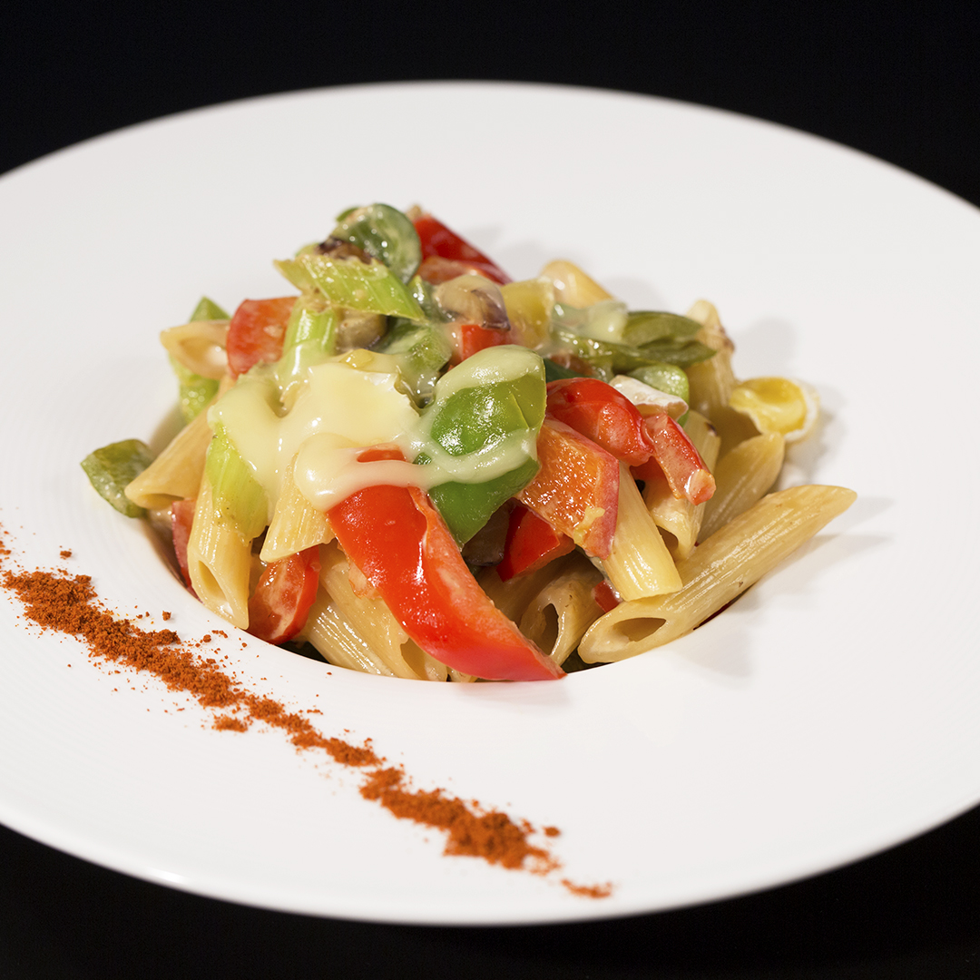 Penne with Eggplant, Bell Peppers and Celery
