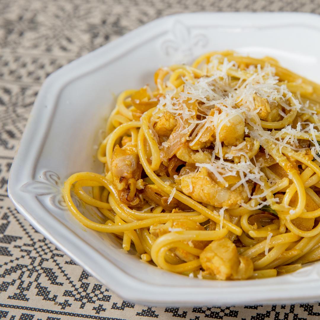 Pangasius and Onion Sauce Spaghetti