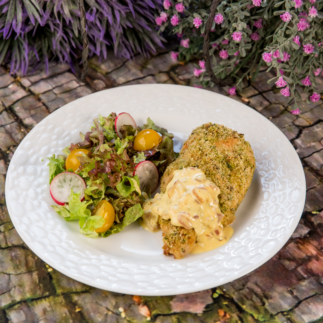 Herb-Crusted Chicken Breast with Cheese Sauce