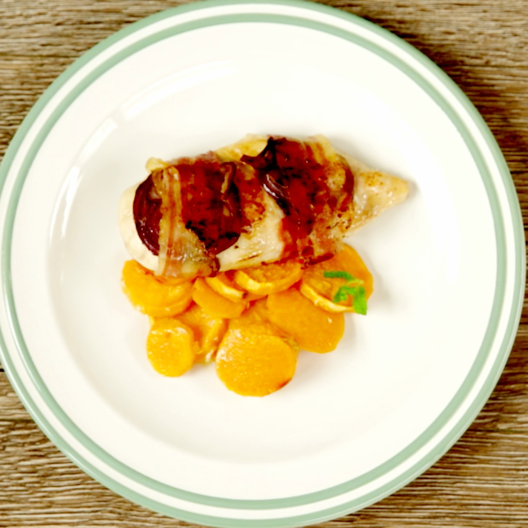 Bacon Wrapped Chicken Breast with Sweet Potatoes