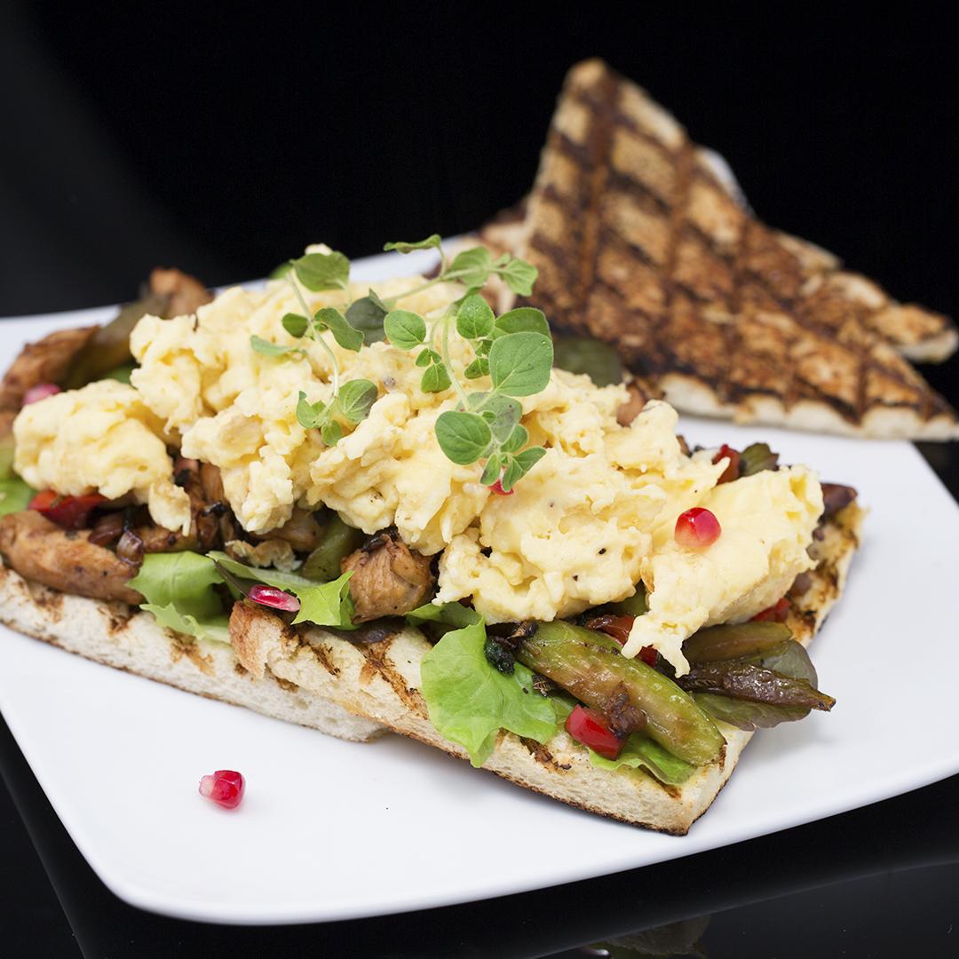 Scrambled Eggs and Turkey Sandwich