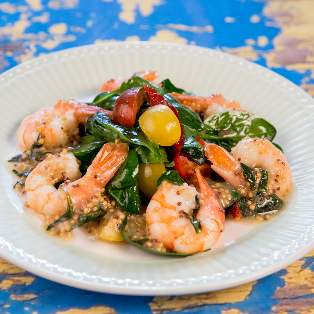 Butter Fried Shrimp with Spinach Salad