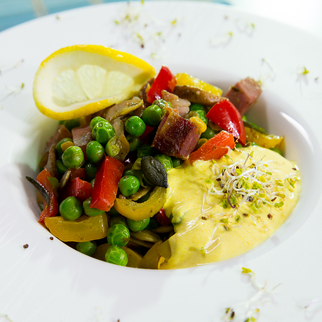 Ham, Mushroom and Pea with Yogurt Sauce
