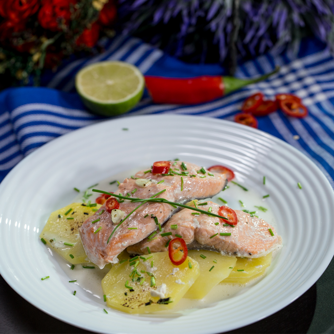 Salmon and Potatoes in Coconut Milk