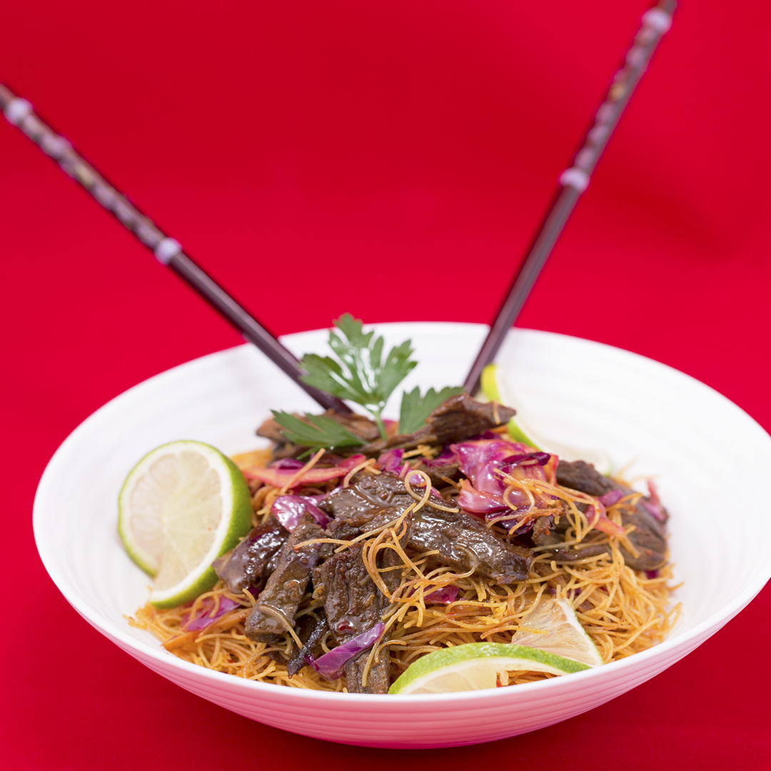 Beef and Red Cabbage Noodles