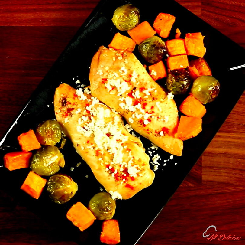 Chicken with Brussels Sprouts and Sweet Potatoes