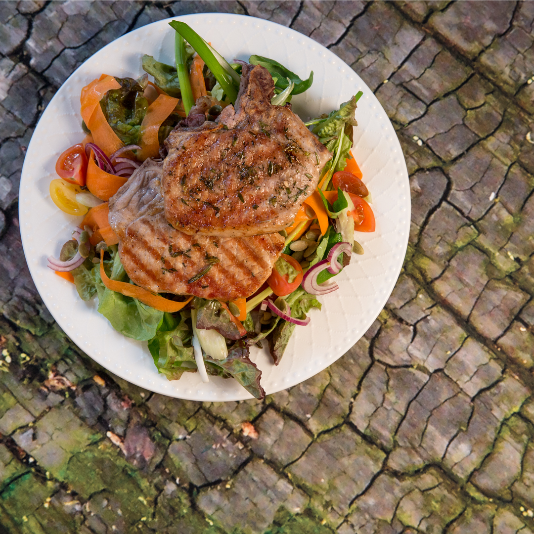 Rosemary Grilled Pork Chops with Fresh Veggie Salad
