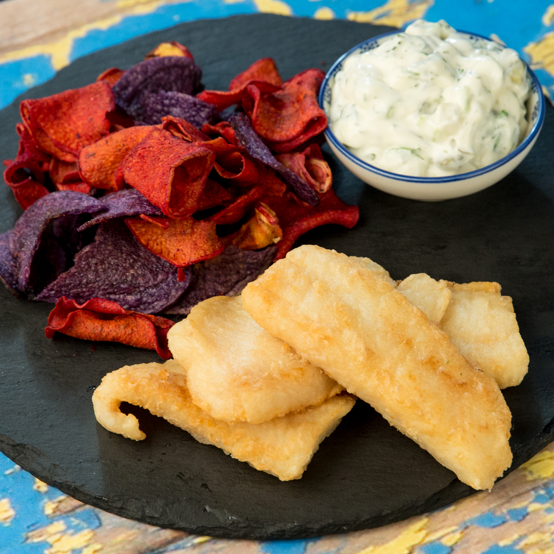 Fish and Chips with Dill and Mayo Dip