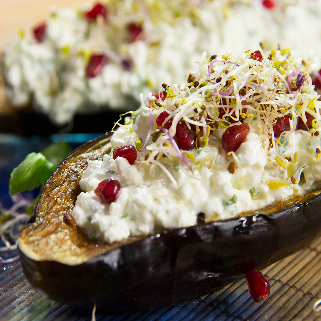 Cottage Cheese Eggplant Boats