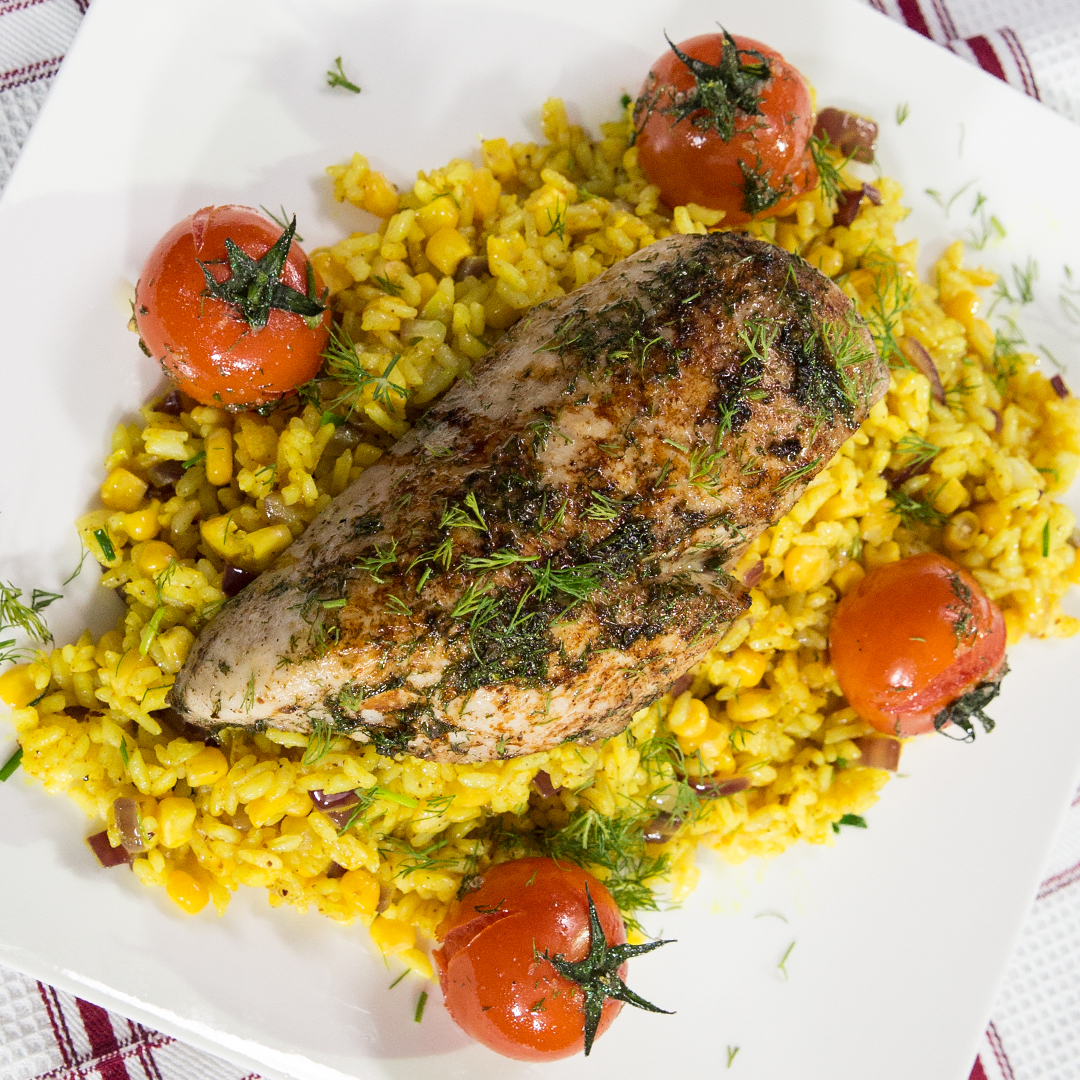 Roasted Chicken Breast with Turmeric Rice