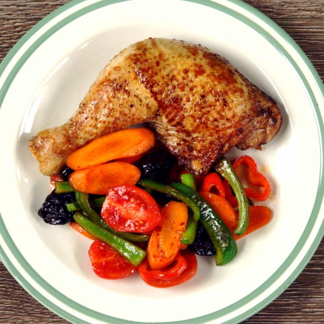 Chicken Legs with Stir-fried Vegetables