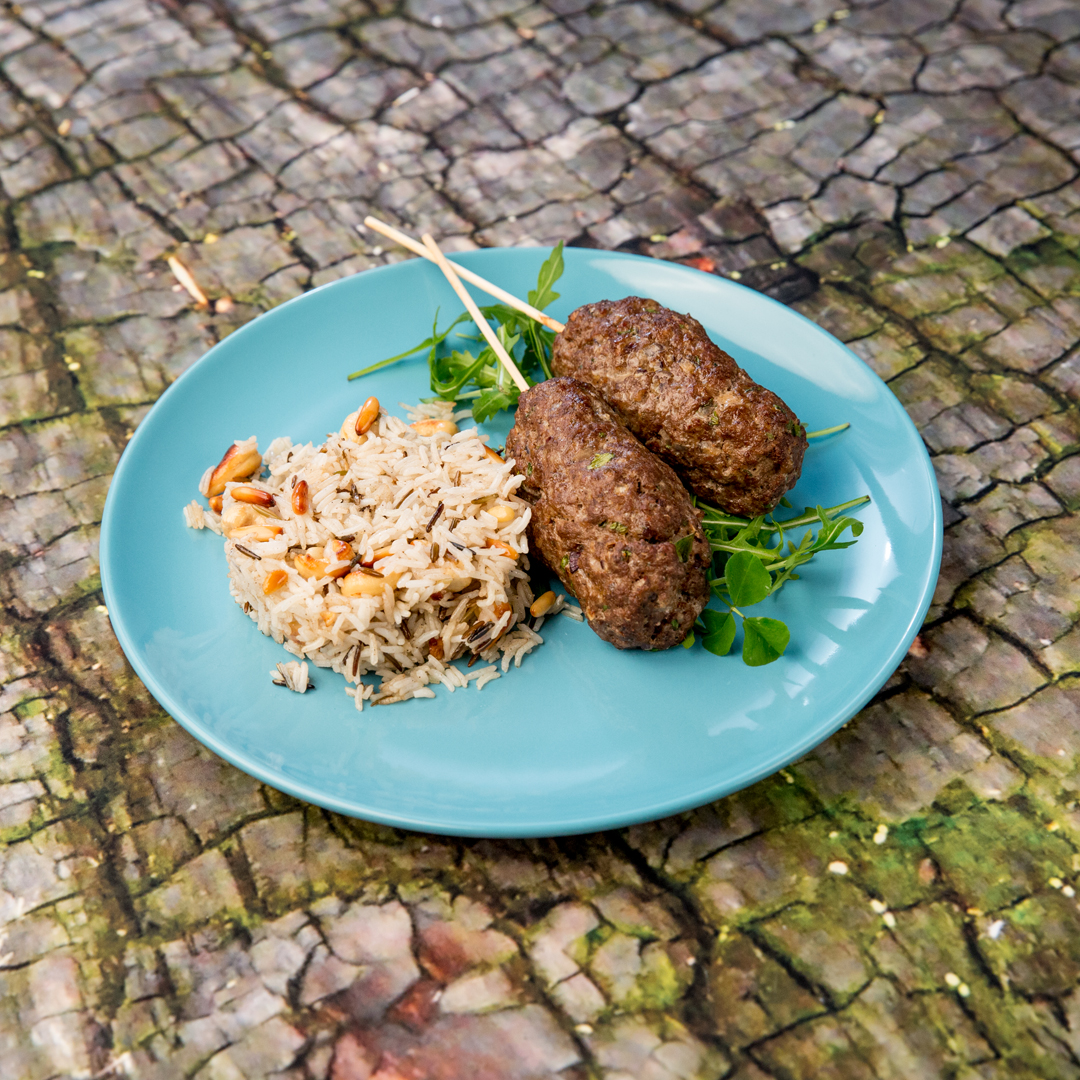 Beef Koftas with Cashews and Pine Nuts Basmati Rice