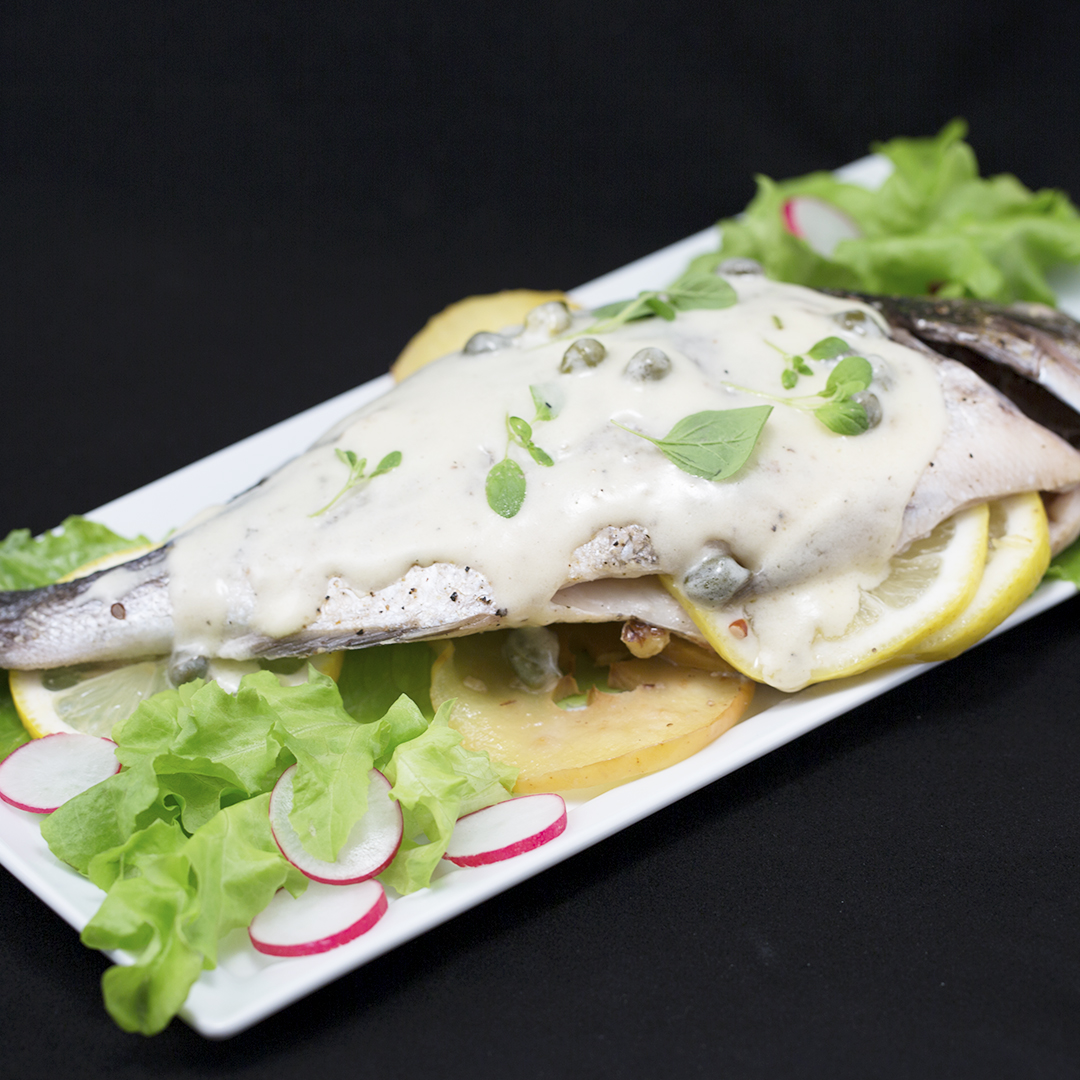 Whole Baked Sea Bream with Caper Sauce