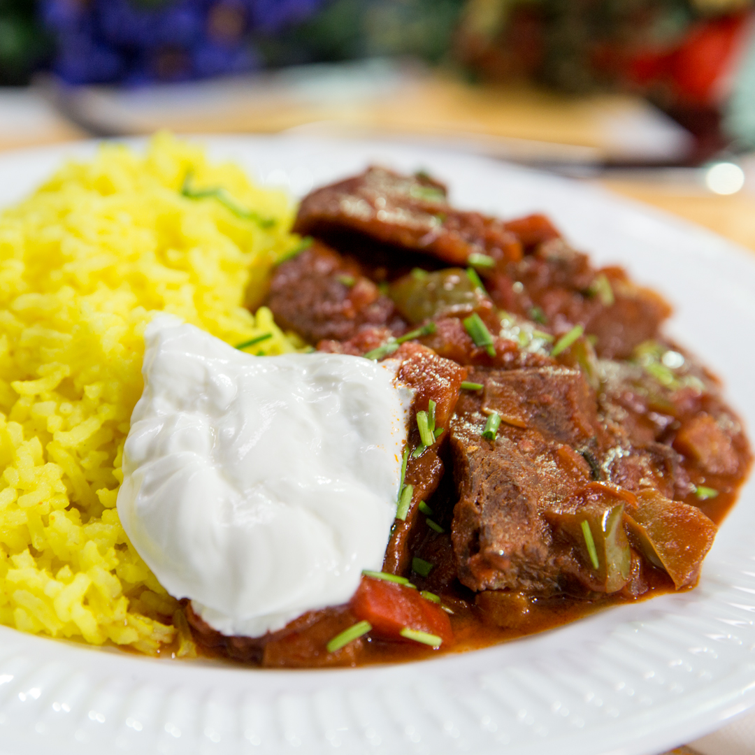 Beef Stew with Turmeric Rice