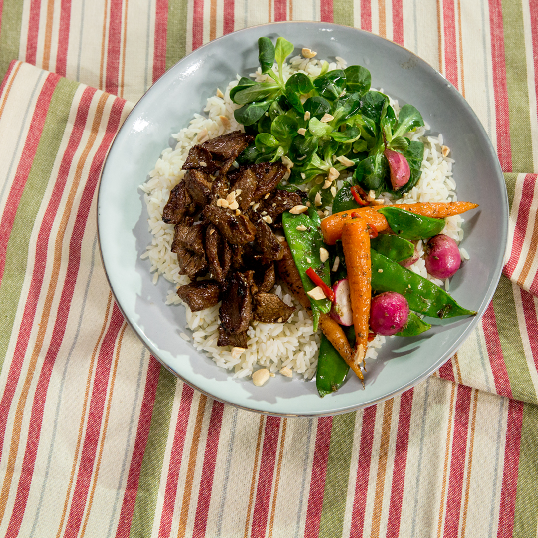 Glazed Beef Tenderloin with Veggies and Rice