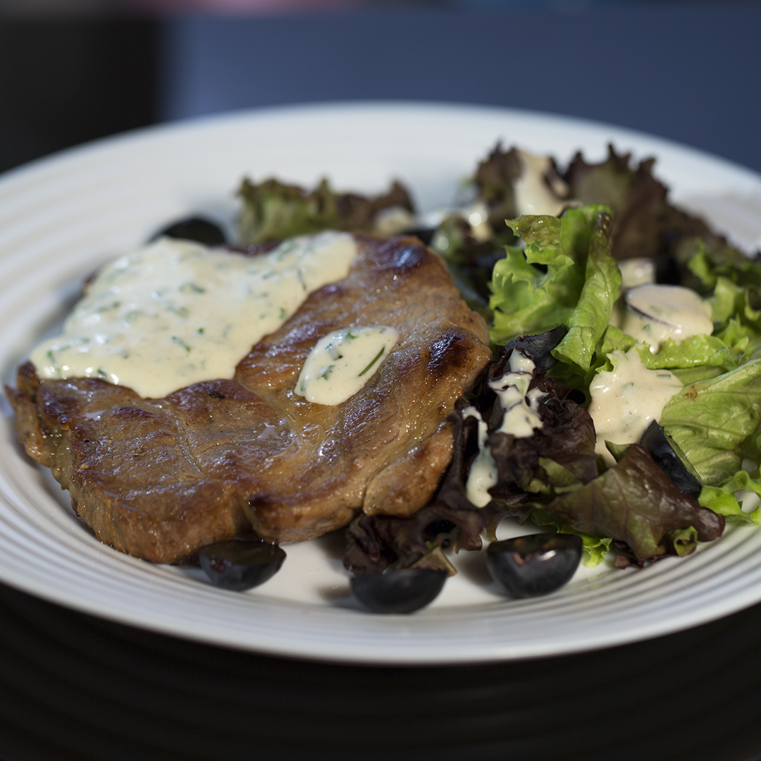 Pan-Fried Pork Neck with Herbed Cream Sauce