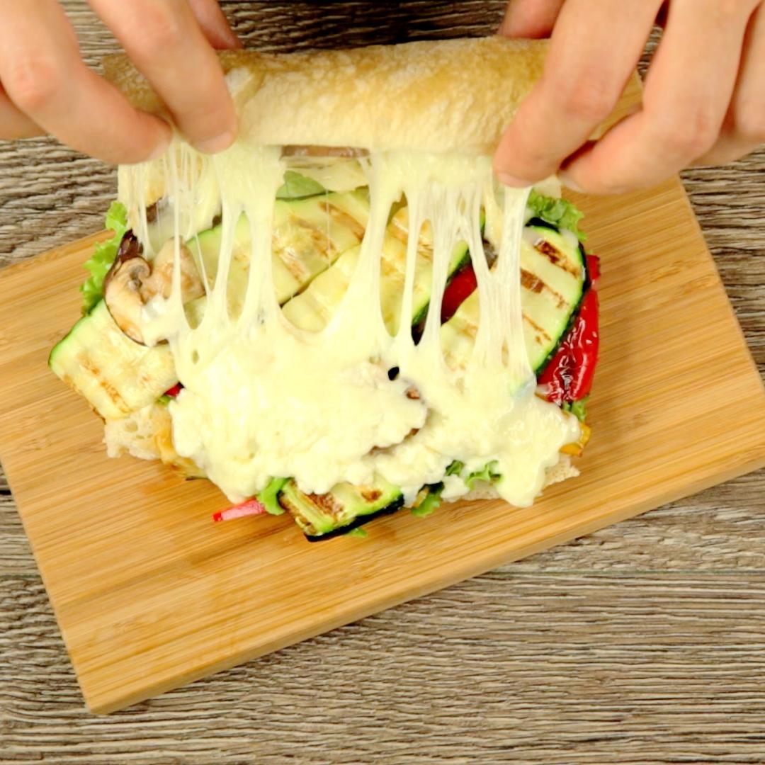Grilled Veggies and Mozzarella Ciabatta