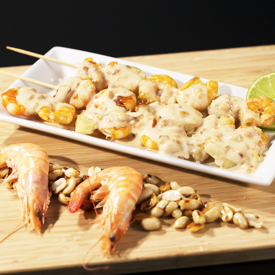 Shrimp Skewers with Peanut Butter Sauce