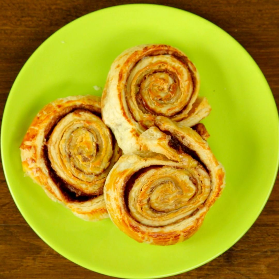 Peanut Butter and Chocolate Puff Pastry Swirls