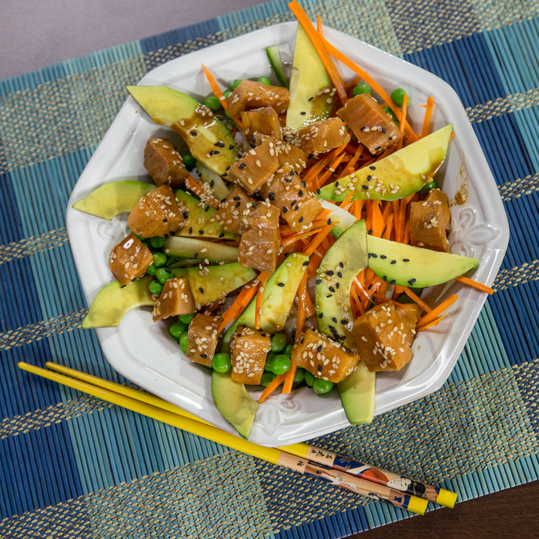 Salmon Poke with Cucumber and Carrot