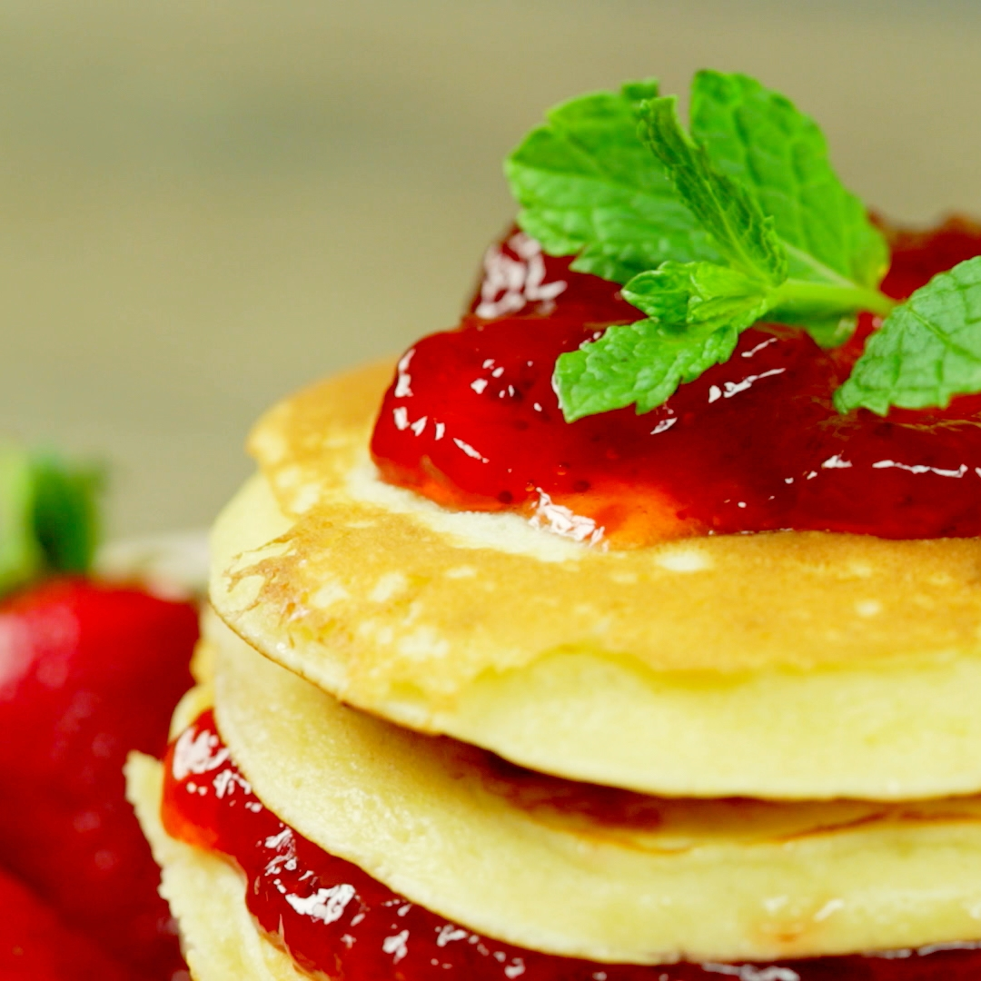 Strawberry Jam Pancakes So Delicious
