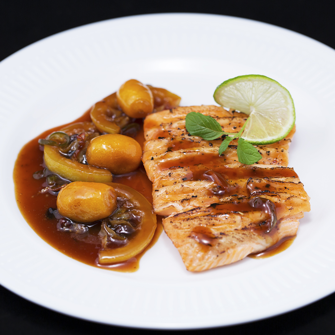 Grilled Salmon with Raisin and Kumquat Sauce