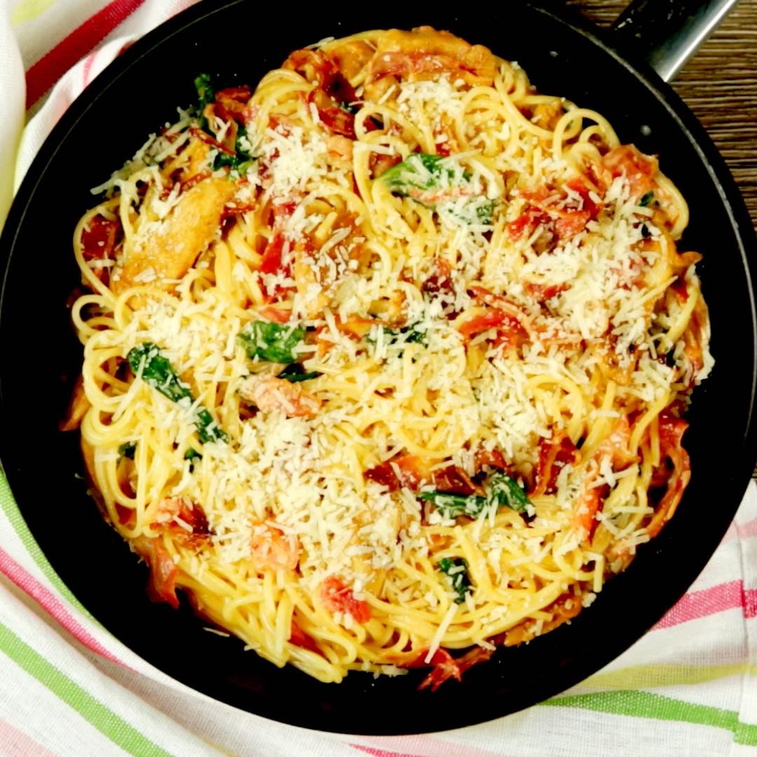 Chicken and Spinach Spaghetti