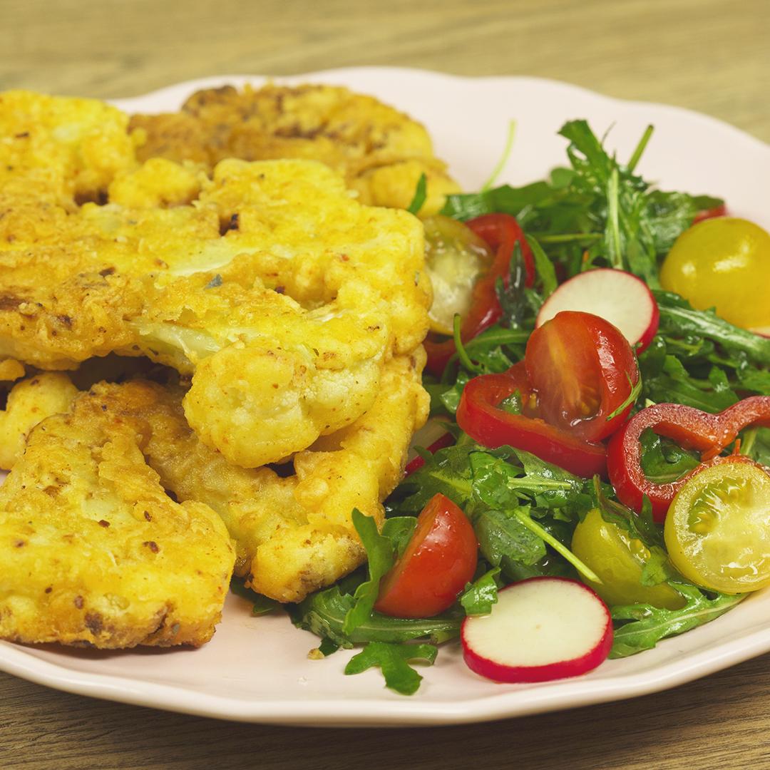 Cauliflower Tempura with Arugula Salad