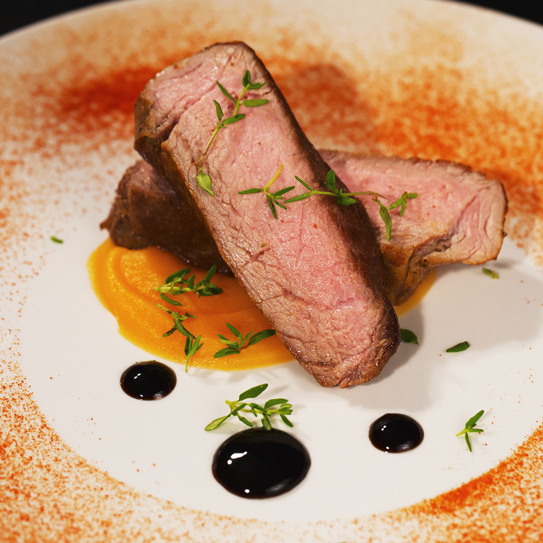 Butter Steak with Carrot and Parsnip Puree