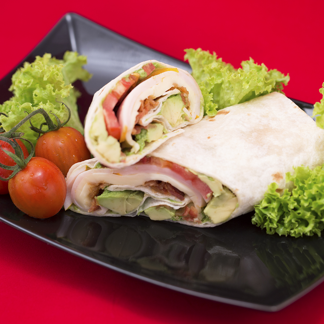 Turkey Ham, Bacon and Avocado Tortilla Wrap