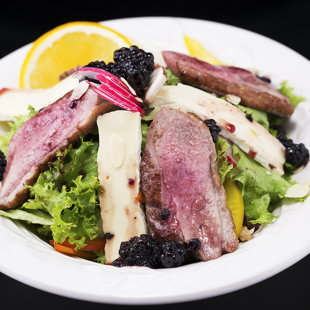 Duck Breast Salad with Brie and Blackberry Jam