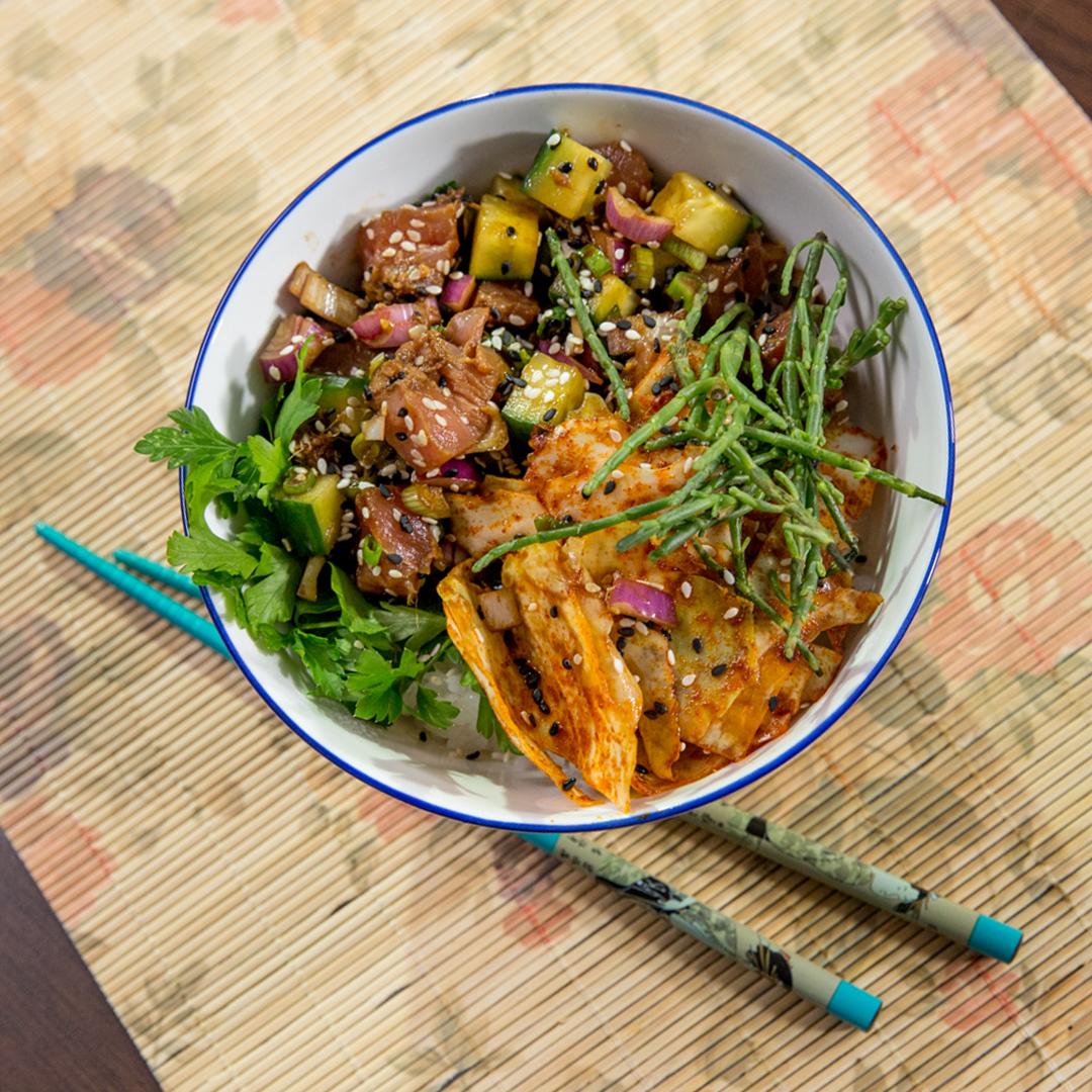 Kimchi and Tuna Poke Bowl