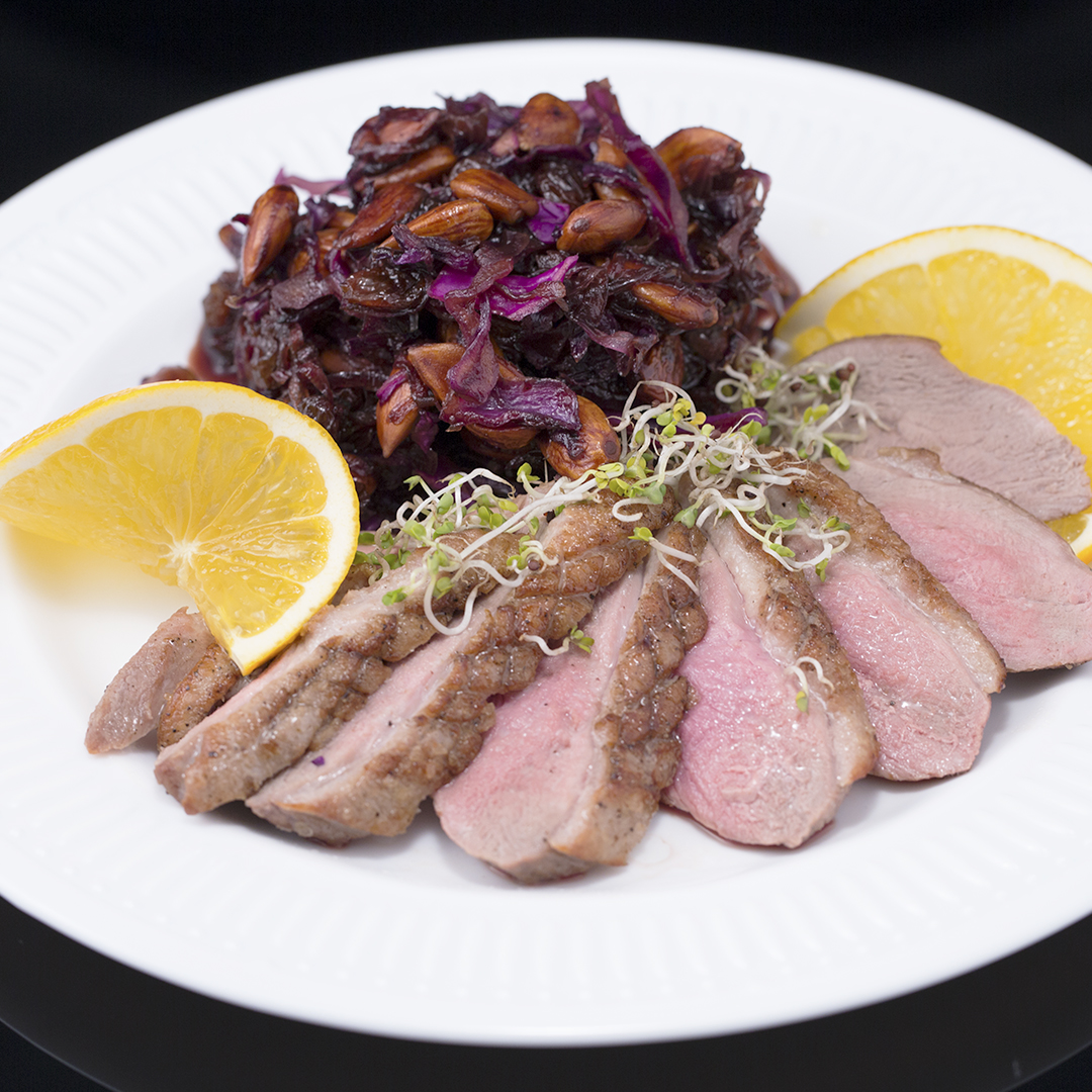 Fried Duck Breast with Sweet Braised Cabbage