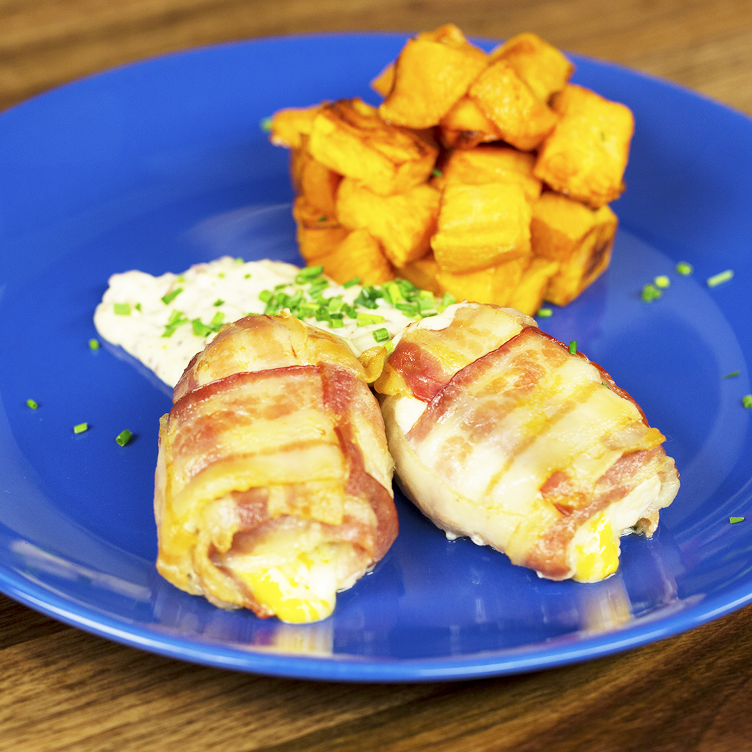 Bacon-Wrapped Chicken with Fried Sweet Potatoes