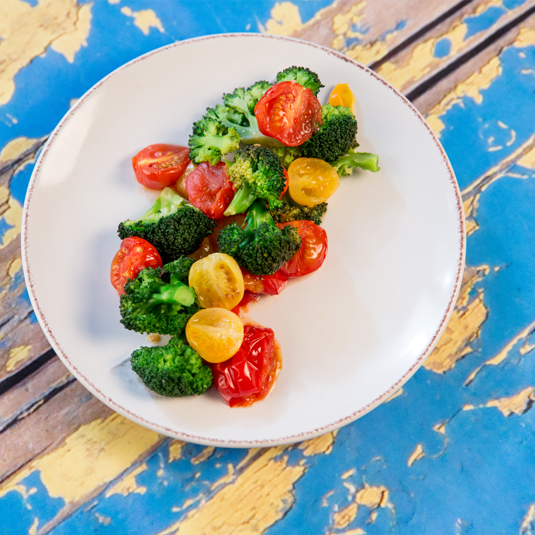 Roasted Broccoli and Cherry Tomatoes