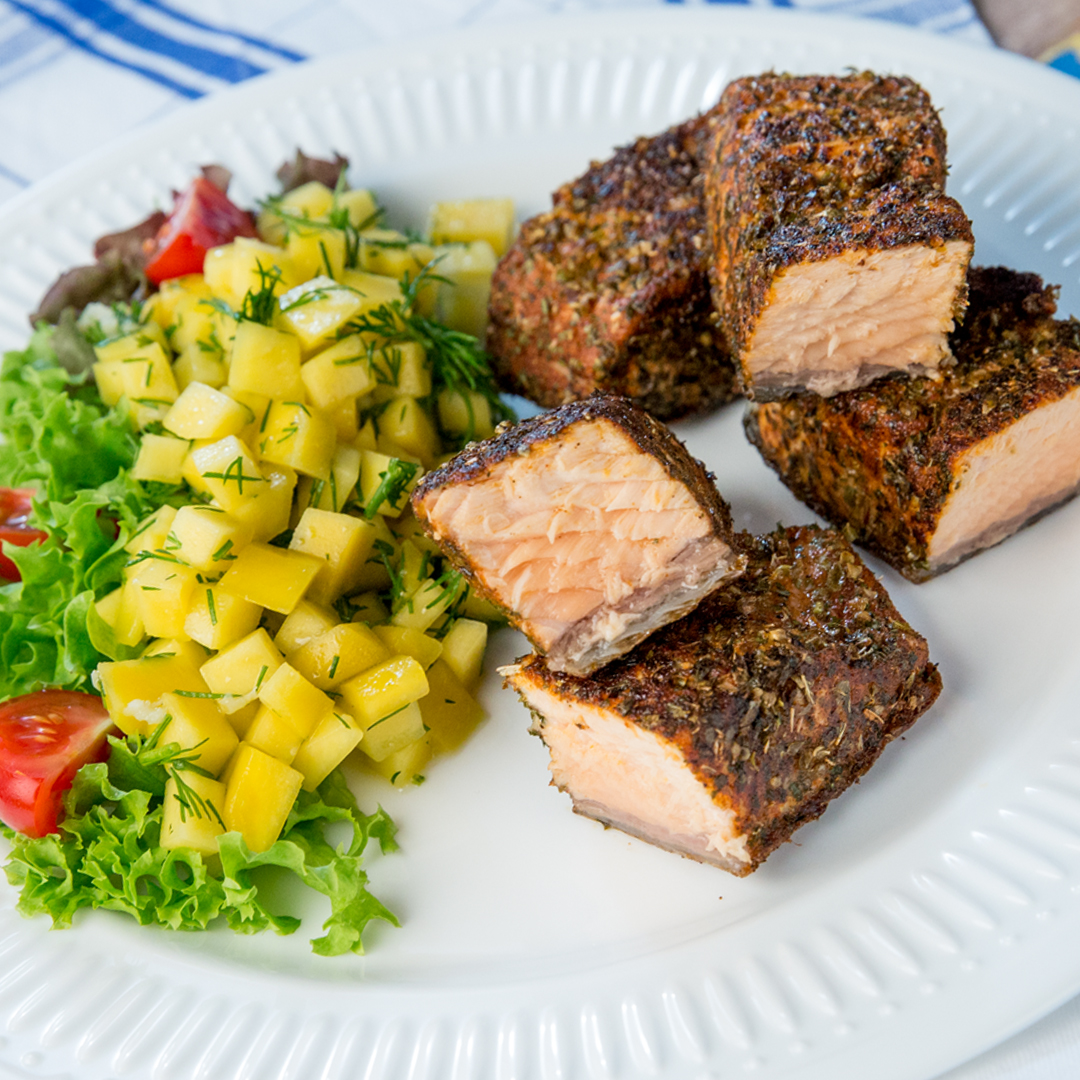 Spice-Crusted Salmon with Mango Salad