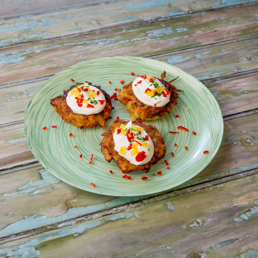 Sour Cream-Garnished Potato Patties