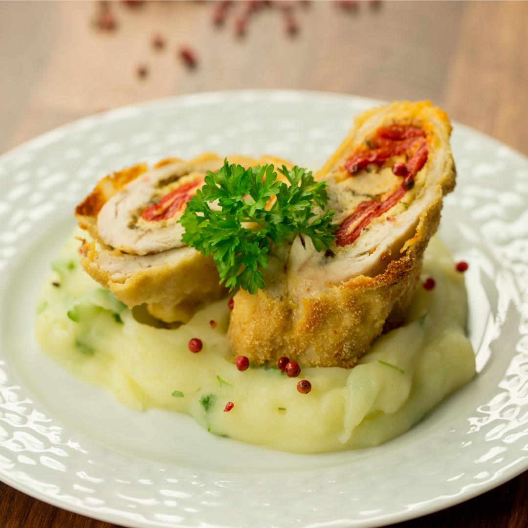 Mozzarella Stuffed Chicken Roll