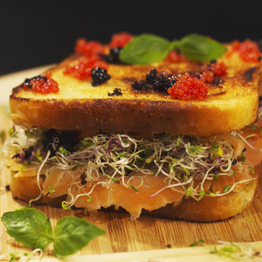 Smoked Salmon and Caviar Sandwich