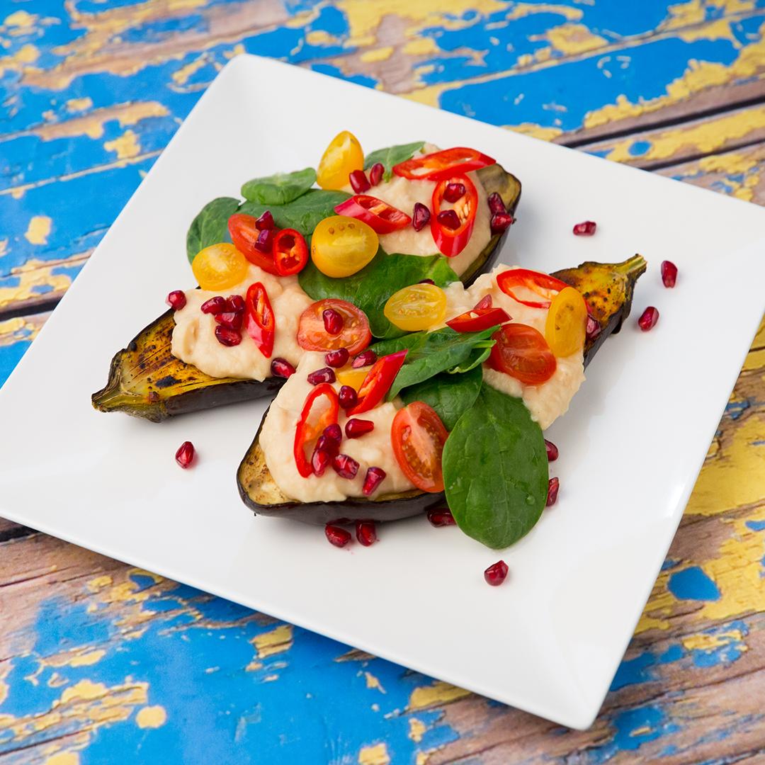 Hummus-Stuffed Eggplant Boats
