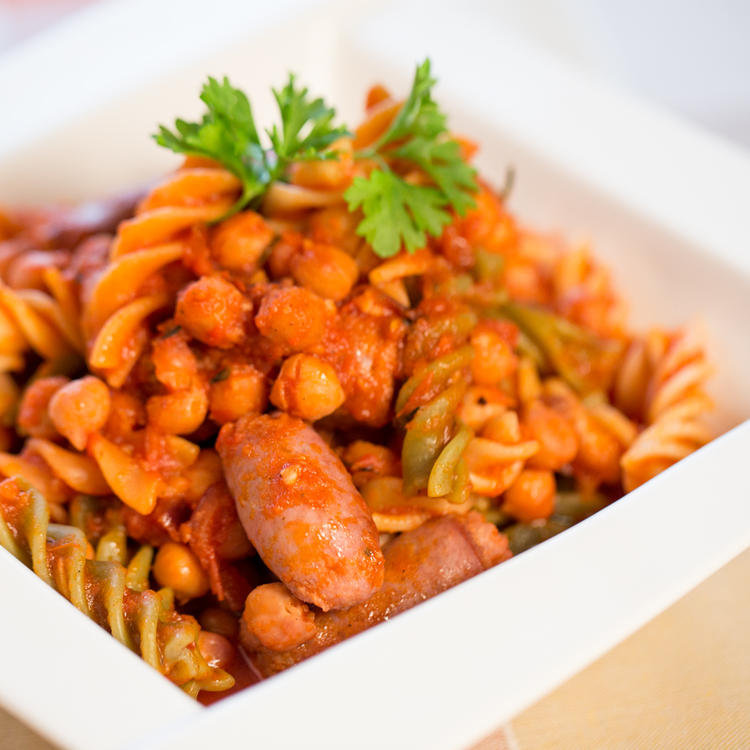 Chickpea and Sausage Fusilli